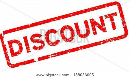 Grunge red discount square rubber seal stamp on white background