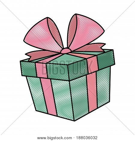 gift box icon, christmas present wrapped with a bow vector illustration