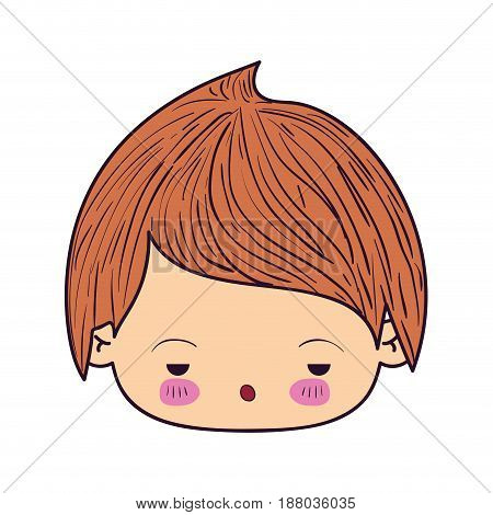 colorful caricature kawaii face little boy with facial expression sad vector illustration