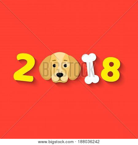 Happy New Year. The year 2018 is a yellow earth dog. A lovely cartoon dog looks. Cartoon figures. Cover for the calendar. Vector illustration in a flat style