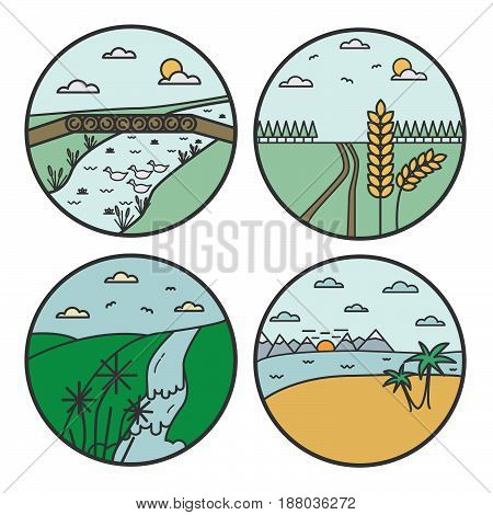Landscape Round Design Concept. Flat Line Nature View Collection. World Environment Day.
