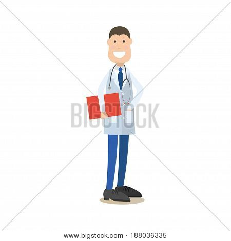 Vector illustration of smiling doctor male in white coat with stethoscope holding clipboard or medical report. Medical doctor therapist flat style design element, icon isolated on white background.