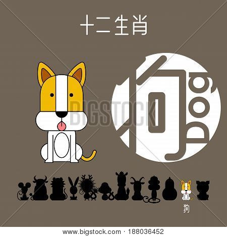 Chinese zodiac sign dog with Chinese character