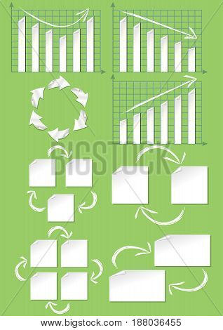 Set of presentation infographic elements in cutting paper design with grunge arrows, charts, diagramms, cycle, arrows