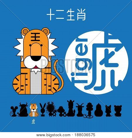 Chinese zodiac sign tiger with Chinese character