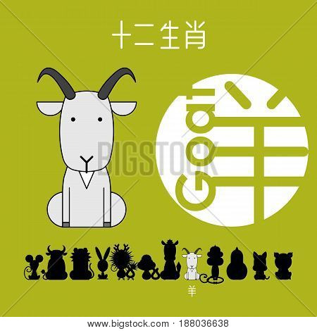 Chinese zodiac sign goat with Chinese character