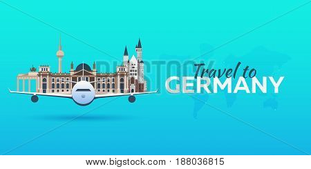 Travel To Germany. Airplane With Attractions. Travel Vector Banners. Flat Style.