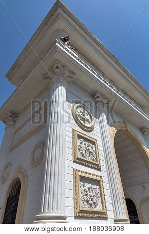 SKOPJE, REPUBLIC OF MACEDONIA - 13 MAY 2017: Macedonia Gate arch, Skopje, Macedonia