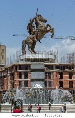 SKOPJE, REPUBLIC OF MACEDONIA - 13 MAY 2017: Skopje City Center and Alexander the Great Monument, Macedonia
