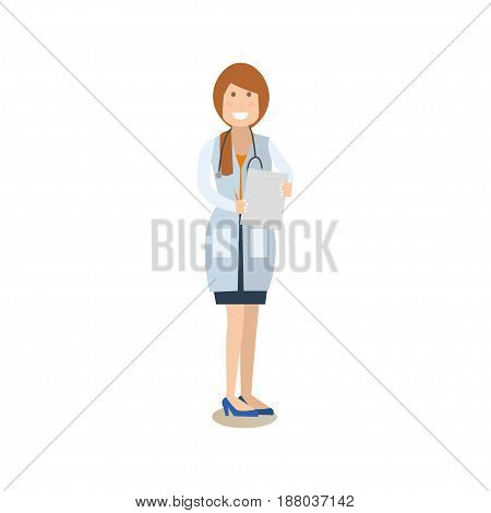 Vector illustration of smiling woman in white coat with stethoscope and holding clipboard in hands. Medical doctor therapist flat style design element, icon isolated on white background.
