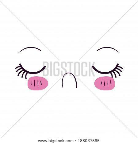 colorful facial expression disgust kawaii vector illustration