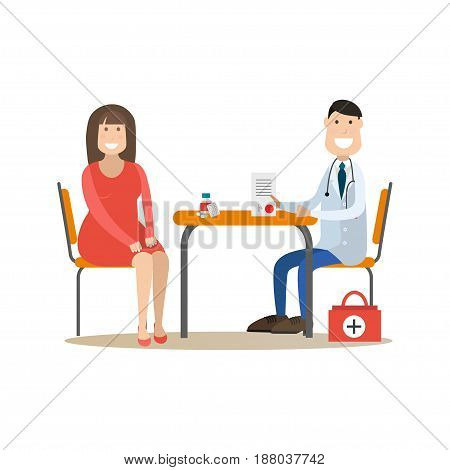 Vector illustration of nutritionist or dietician doctor male consulting his patient female. Medical practitioner flat style design element, icon isolated on white background.