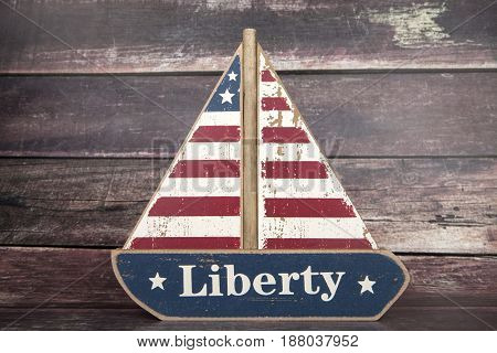 A patriotic sail boat decoration for the Fourth of July