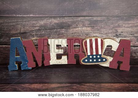 An America sign for the Fourth of July holiday