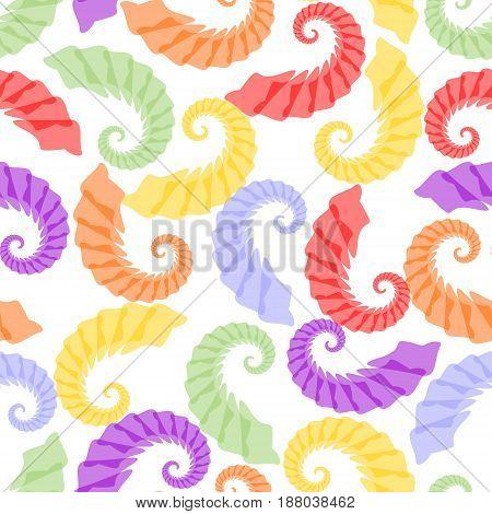 Seamless background with rainbow pastel grubs on white area