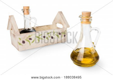 Olive oil in glass bottle and soy sauce isolated on white background
