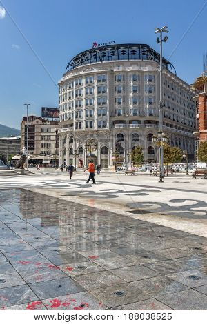 SKOPJE, REPUBLIC OF MACEDONIA - 13 MAY 2017: Skopje City Center and Alexander the Great square, Republic of Macedonia