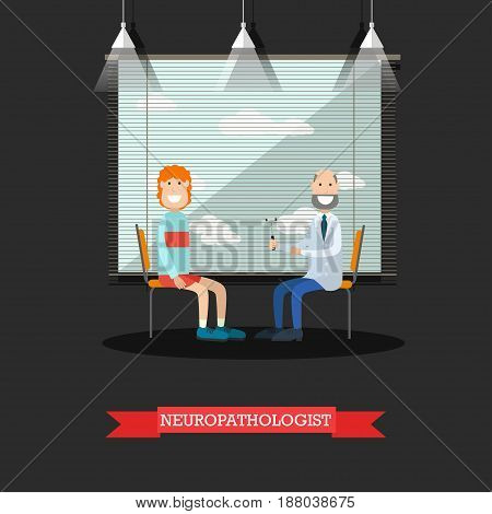 Vector illustration of doctor neurologist examining his patient male with reflex hammer. Medical clinic interior. Flat style design.