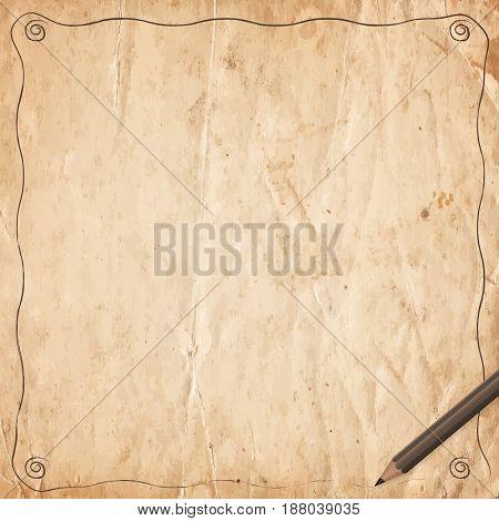 Retro Vintage Border With Pencil On Old Paper Background