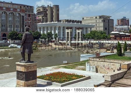 SKOPJE, REPUBLIC OF MACEDONIA - 13 MAY 2017: Panorama of Vardar River and panorama to Skopje City Center, Republic of Macedonia
