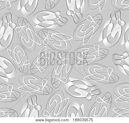 Seamless decent silver gray tile with abstract curve element. Low contrasting neutral background.