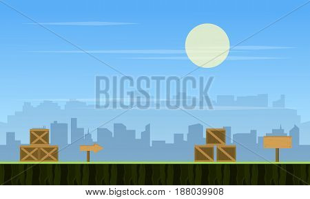 Collection stock city background for game vector illustration