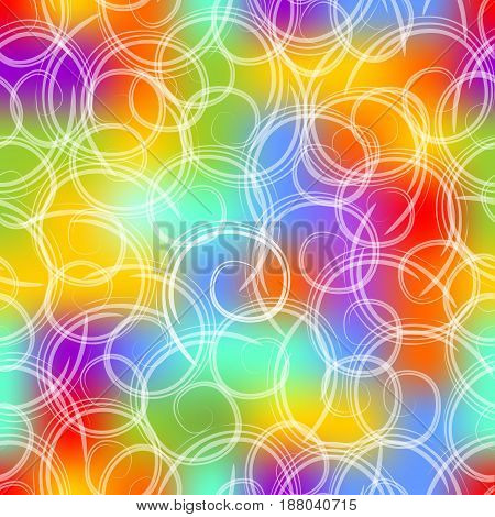Seamless mottled background in gaudy colors with white swirls