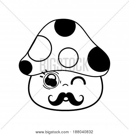 kawaii cute funny fungus with mustache, vector illustration