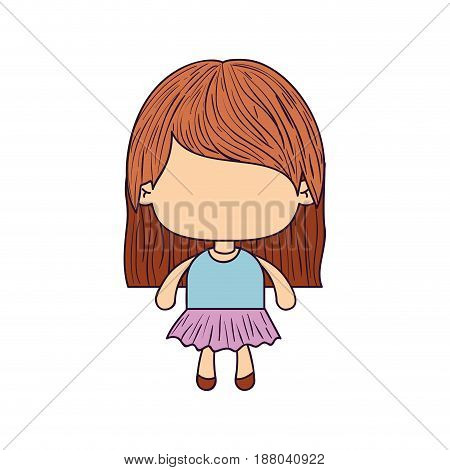 colorful caricature of faceless little girl with straight hair vector illustration