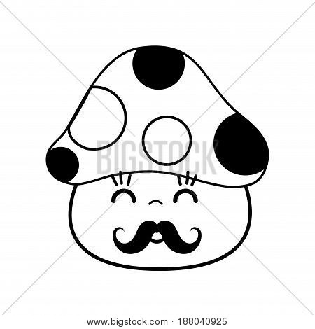 kawaii cute happy fungus with mustache, vector illustration