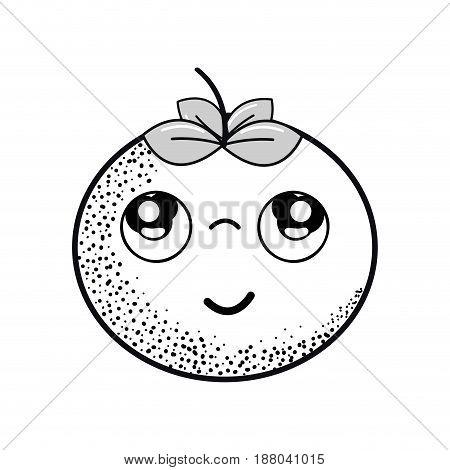 hand drawn kawaii nice thinking tomato vegetable, vector illustration