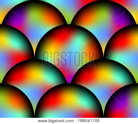 Abstract futuristic seamless background with overlapping rainbow ball patterns