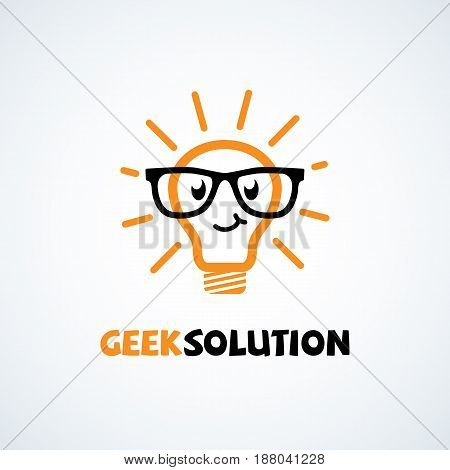 Geek logo design template with light bulb in glasses. Vector illustration.