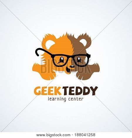 Geek logo design template with teddy bear in glasses. Vector illustration.