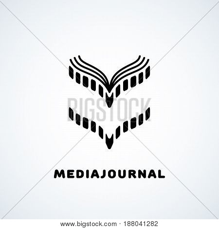Logo design template with film in the form of journal. Vector illustration.