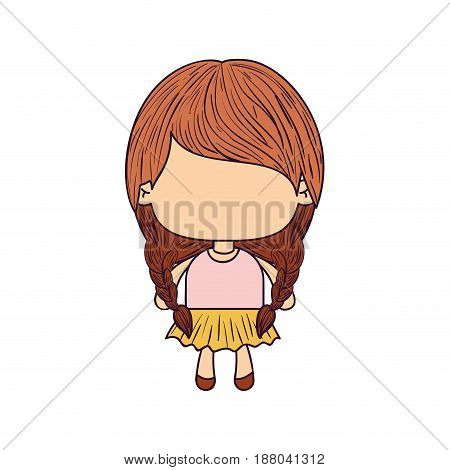colorful caricature of faceless little girl with pigtails hair and braided vector illustration
