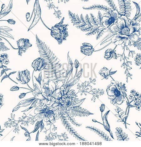 Seamless vector vintage pattern with bouquet of blue flowers on a white background. Engraving. Peony ferns tulips anemones eucalyptus seeds.