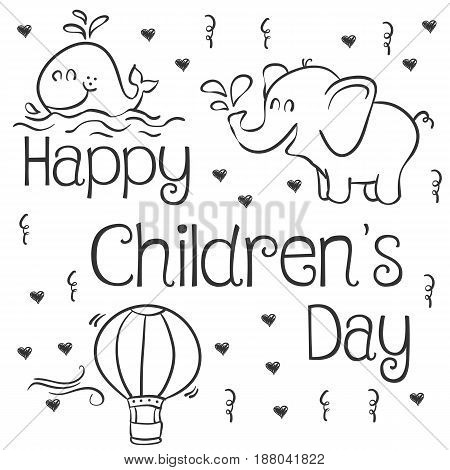 Happy Childrens Day vector art collection stock