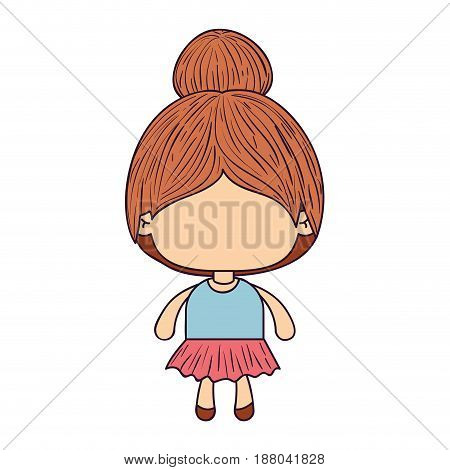 colorful caricature of faceless little girl with collected hair vector illustration