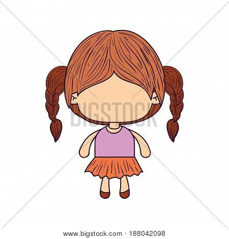 colorful caricature of faceless little girl with braided hair vector illustration