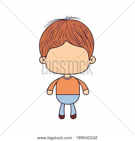 colorful caricature of faceless little boy with short hair vector illustration