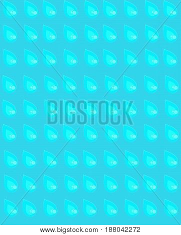 Seamless pattern with raindrops, summer warm bright blue rainy pattern