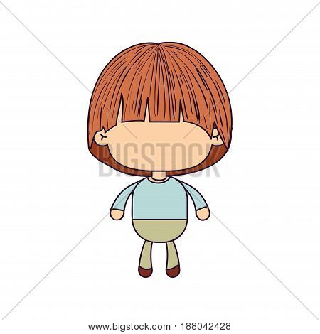 colorful caricature of faceless little boy with mushroom haircut vector illustration