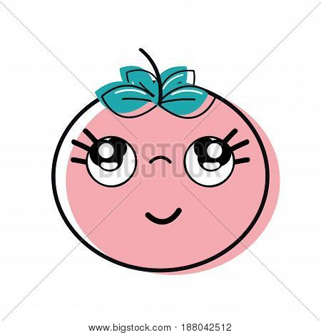 kawaii nice thinking tomato vegetable, vector illustration