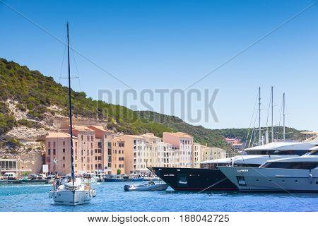 Moored Yachts, Port Of Bonifacio, Corsica Island