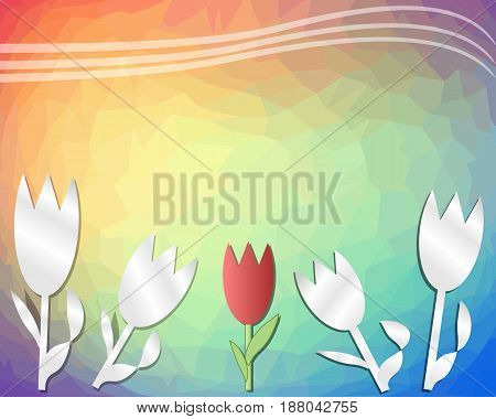 Decorative spring rainbow triangle background with tulips cut out of paper. With place for own text.