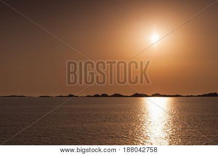 Rising Sun Over Horizon Of Bonifacio, Corsica