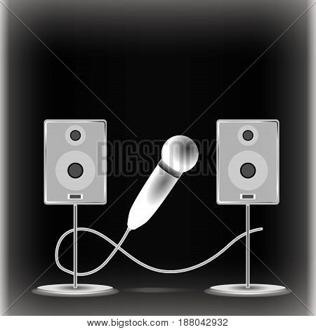 Image of two gray columns on round stands with a microphone in the middle and a cord on a black background in a negative