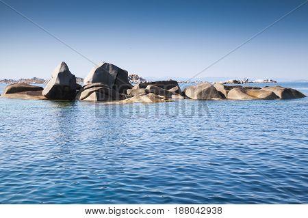 Coastal Rocks In Strait Of Bonifacio, Corsica