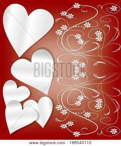 Dark red Valentine day background with paper hearts and art deco patterns